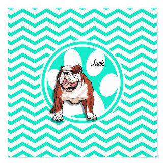 Bulldog; Aqua Green Chevron Invitation