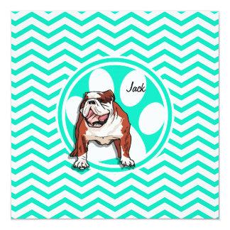 Bulldog; Aqua Green Chevron 5.25x5.25 Square Paper Invitation Card