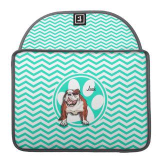 Bulldog; Aqua Green Chevron Sleeves For MacBook Pro