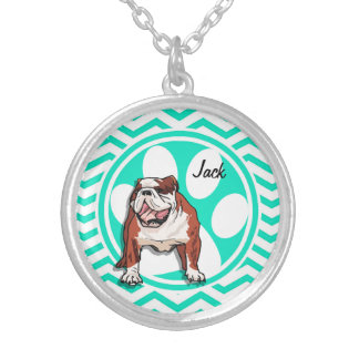 Bulldog; Aqua Green Chevron Silver Plated Necklace