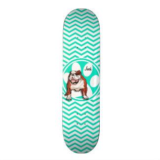 Bulldog; Aqua Green Chevron Skateboard Deck