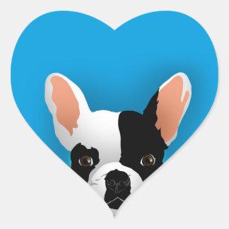 Bulldog art - french bulldog heart sticker