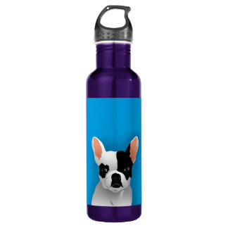 Bulldog art - french bulldog water bottle