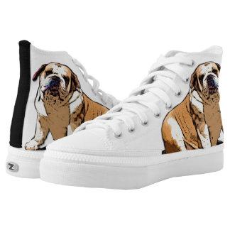 Bulldog art high top tennis shoes
