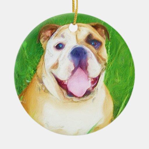 Bulldog art ornament