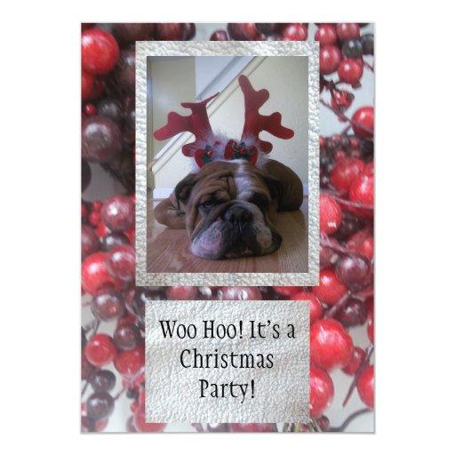 "Bulldog as reindeer Christmas party Invitations 5"" X 7"" Invitation Card"