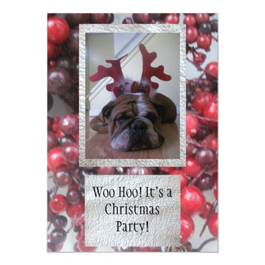 Bulldog as reindeer Christmas party Invitations