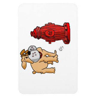 Bulldog at Fire Hydrant cartoon on magnet