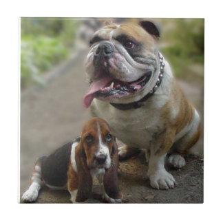 Bulldog & BabyBassett - BE aware OF my best friend Ceramic Tiles
