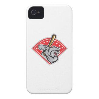 Bulldog Baseball Hitter Batting Cartoon iPhone 4 Covers
