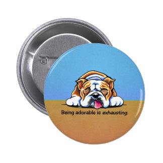 Bulldog Being Adorable Blue Off-Leash Art™ Buttons