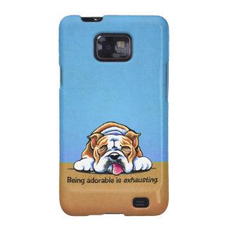 Bulldog Being Adorable Blue Off-Leash Art™ Galaxy SII Cases