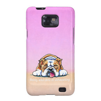 Bulldog Being Adorable Pink Off-Leash Art™ Samsung Galaxy S2 Cases