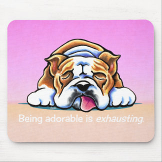 Bulldog Being Adorable Pink Off-Leash Art™ Mouse Pad