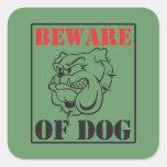 Bulldog ~ Beware Of Dog Square Sticker