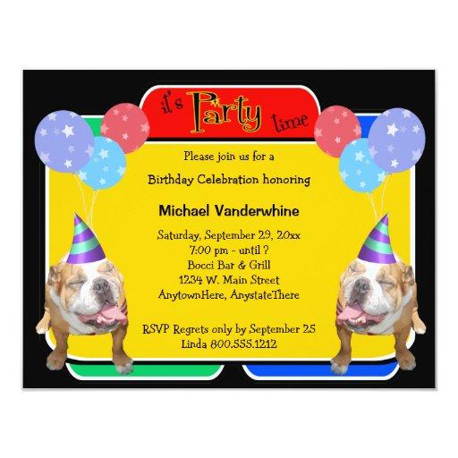 Bulldog Birthday Barker 4.25x5.5 Paper Invitation Card