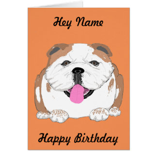 Bulldog birthday card Add name front