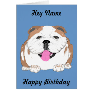 Bulldog birthday card Add name front