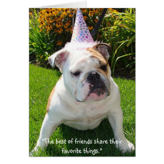 Bulldog Birthday Party Greeting Card