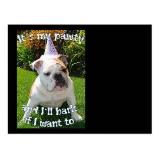 Bulldog Birthday Party Postcard