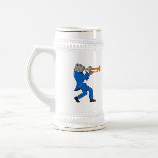 Bulldog Blowing Trumpet Side View Cartoon 18 Oz Beer Stein