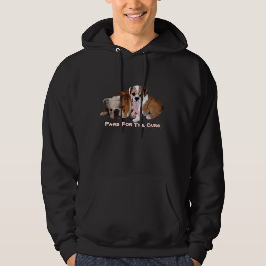Bulldog Breast Cancer Unisex Hooded Sweatshirt