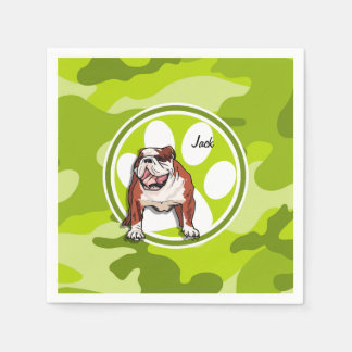 Bulldog; bright green camo, camouflage paper napkin