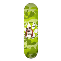 Bulldog; bright green camo, camouflage skateboard