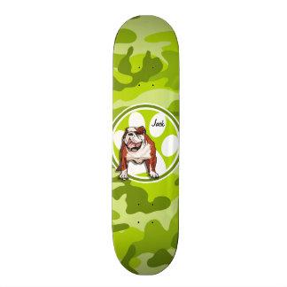 Bulldog; bright green camo, camouflage skateboard