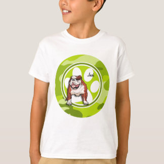 Bulldog; bright green camo, camouflage T-Shirt
