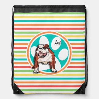 Bulldog; Bright Rainbow Stripes Drawstring Backpack