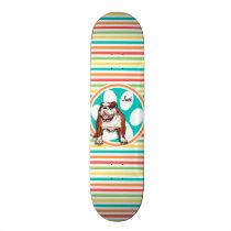 Bulldog; Bright Rainbow Stripes Skateboard Deck