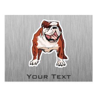 Bulldog; Brushed metal look Postcard