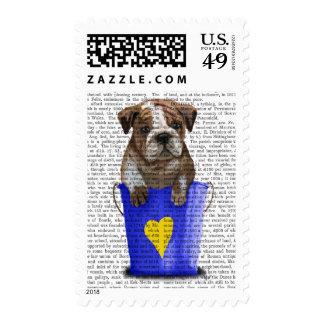 Bulldog Bucket Of Love Blue Postage Stamp