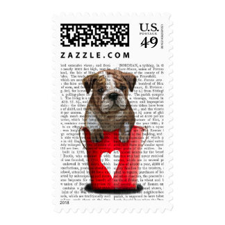Bulldog Bucket Of Love Red Postage Stamp