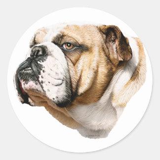 Bulldog Bust Classic Round Sticker