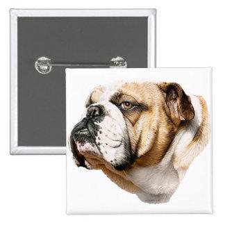 Bulldog Bust Pinback Button