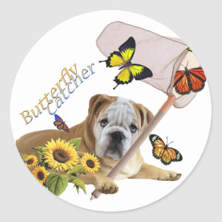 Bulldog Butterfly Catcher products Classic Round Sticker