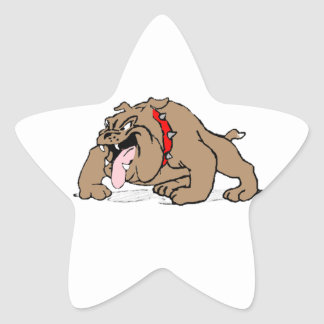 Bulldog Cartoon Art Star Sticker