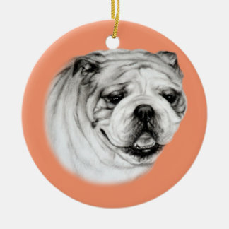 Bulldog Ceramic Ornament