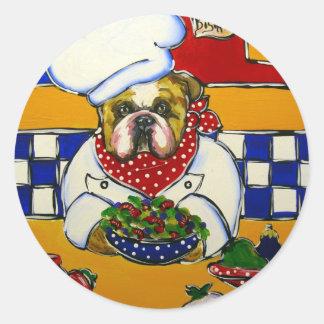 Bulldog Chef Round Stickers