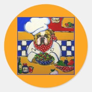 Bulldog Chef Round Sticker