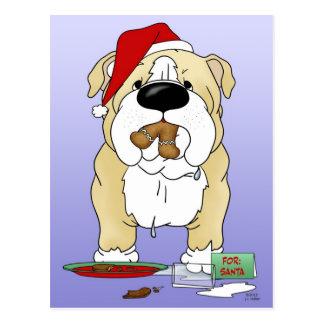 Bulldog Christmas - Ho Ho Ho??? Postcard