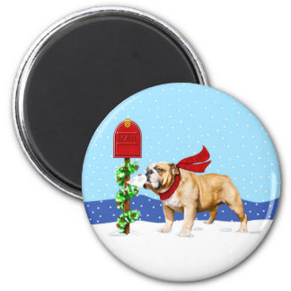 Bulldog Christmas Holiday Mail 2 Inch Round Magnet