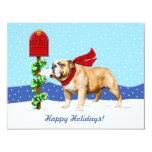 "Bulldog Christmas Holiday Mail 4.25"" X 5.5"" Invitation Card"