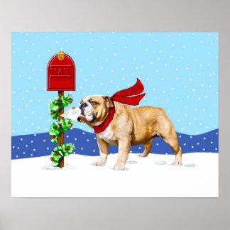 Bulldog Christmas Holiday Mail Posters