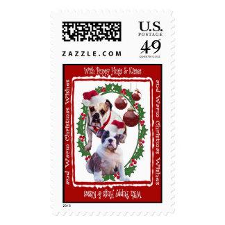 Bulldog Christmas Hugs & Kisses Postage Stamp