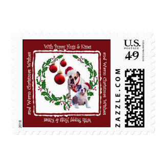 Bulldog Christmas Hugs & Kisses Postage Stamp #1a