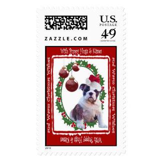Bulldog Christmas Hugs & Kisses Postage Stamp #2