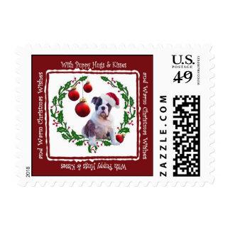 Bulldog Christmas Hugs & Kisses Postage Stamp #2a